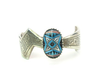 Native American Bracelet. Sterling Silver Cuff. Turquoise Morning Star Inlay. Roderick & Marilyn Tenorio. Vintage Southwestern Jewelry 55.2g