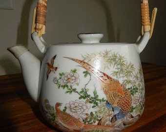 Mid century Teapot & lid-Japanese ceramic teapot-pheasants /bamboo-gold gilt accents-made in Japan-bird decoration teapot-asian decor