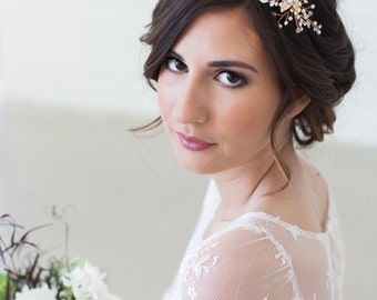 FREE USA SHIPPING, Rose Gold and gold Crystal Bridal Headpiece, Wedding Hair Vine, Bridal Hair Piece, Crystal Gold Wedding Hair Accessories