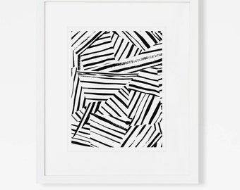 Black and White Abstract Art Print - Vertical or Horizontal - 5x7, 8x10, 11x14