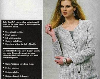 Vogue 8893 Unlined jacket hip length open shaped neckline bands pockets sleeves Size 8-10-12-14-16 16-18-20-22-24 Claire Shaeffer uncut