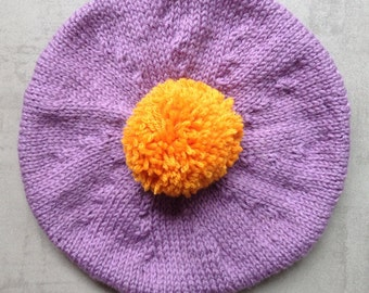Children's Hat, Tam, Beret, Hand Knitted, UK Seller, Pure Wool