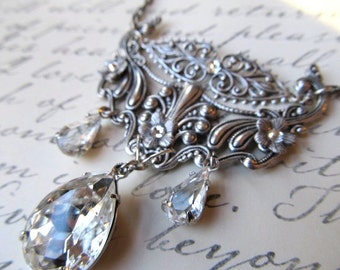 Art Deco Bridal Necklace Art Nouveau Crystal Necklace 1920s Necklace Sterling Necklace Steampunk Necklace Silver Filigree Necklace- Bliss