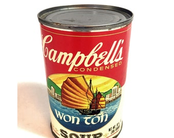 Vintage 1981 Campbell's Wonton Soup Can Empty like the one Used in Andy Warhol's Wonton Soup Photograph