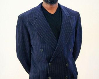 40s Blazer, Double Breasted Navy Blue Blazer, Wool Pinstripe Blazer, 1940s Double Breasted Sport Coat, Gangster Blazer, Size 40R, M