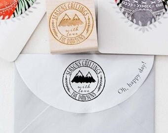Christmas Rubber Stamp, Merry Christmas Stamp, Custom Christmas Stamp, Seasons Greetings Stamp, Christmas Card, Greeting Cards Stamp