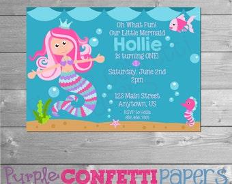Mermaid Birthday Invitation, Under the Sea, Mermaid Party, Under the Sea Party, Mermaid Invite, Mermaid Printable, Seahorse, Starfish, Fish