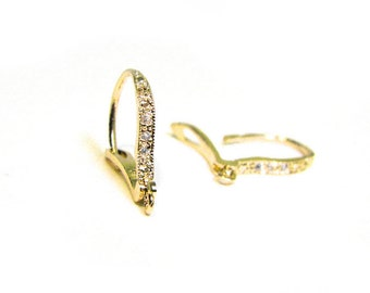 SALE CZ Pave Leverback Ear Wires Gold Vermeil Lever Back Earwires with Cubic Zirconia  RZ101