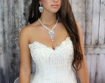 Bridal jewelry Set, Wedding Jewelry Set, Bridal Necklace, Cubic Zirconia Necklace, Bridal Statement Jewelry, Bridal Necklace, Weddings