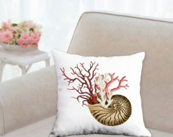 Shell and Coral Designer Pillow