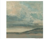6x6 Landscape Art Print From Small Original Square Acrylic Painting Skies Clouds Ready to Frame Impressionistic Blue Gray Print Under 20