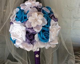 Wedding Bridal Flowers-Wedding Flower Bouquet-Malibu and Regency-Bridal Bouquet-Bride's Flowers-wedding flowers-Handmade-Made to order