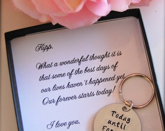 Groom gift from Bride, Bride to GROOM gift on wedding day, from Bride, Grooms keychain, wedding day gift from bride,Today until Forever