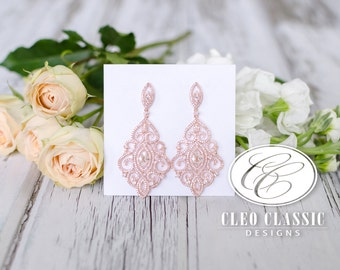 Rose Gold Bridal Earrings Wedding Jewelry Clear Zircon Crystal Rhodium Art Deco Pierced Dangle Unique Design Bridesmaid Dangle Earrings