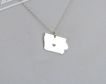 Iowa State Necklace - Engraving Pendant - Sterling Silver Jewelry - Gold Jewelry - Rose Gold Jewelry - Personalized Jewelry - Gift