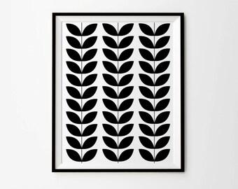 Scandinavian Leaves Print, 5 x7 in, 8 x 10 in, 11 x 14 in, Black and white print, Scandinavian Poster, Monochrome print, Black minimalist