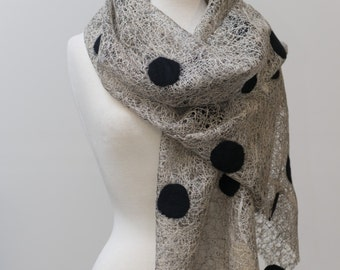 Sale 30% Off Nuno felted scarf, felted scarf, felt scarf, nuno felt, Black felted dots, silver, cotton & Polyester, lace scarf