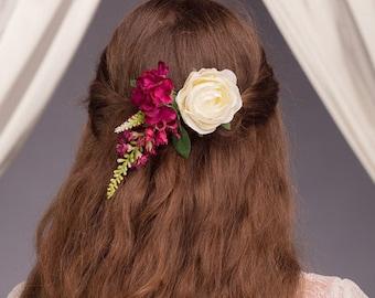 Tilly Purple Rose Hair Clip