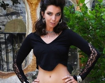 long sleeve gypsy crop top stretchy lacy, bohemian tribal fusion bellydance, festivals and yoga clothing