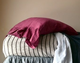 Marsala natural linen pillow case with ruffle / Natural stonewashed linen/ Pure linen bedding. Standard and King sizes