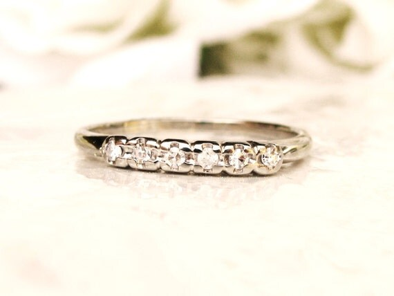 five stone diamond wedding band 18k white gold diamond wedding ring