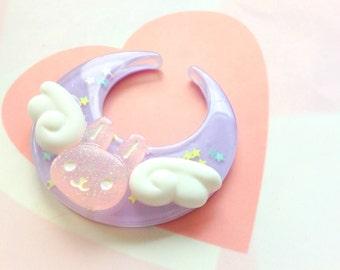 Fairy Kei Purple Moon Hair Clip, Bunny Angel Wings Hair Clip, Kawaii Brooch Moon Rabbit, Cute Bunny Brooch Pin, Animal Hair Clip, Pastel Kei
