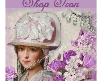 Shop Icon, Design Laura In Lilac, instant download, blank file, lilac roses, 500 x 500 pixels, vintage theme, lady in hat, jewelry, ribbons