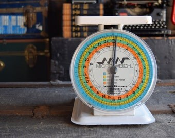 Vintage Scale - Micro Weigh Kitchen Scale - Rainbow Dial - White Body - Glass Cover