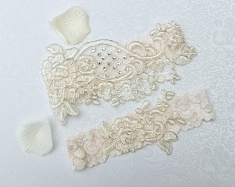 Wedding Garter Set- Bridal Garter Set - Keepsake Garter- Toss Garter- Lace Garter- Garter- Wedding Garter- Bridal Garter-ALENCON LACE GARTER