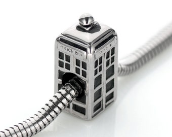 Doctor Who Tardis POLICE BOX Charm Bead / Tardis Charm / Stainless Steel Fits European Charm Bracelets SSTB1