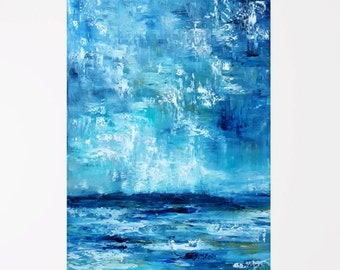 Ocean art Oil painting abstract Modern abstract art Hallway art Blue abstract wall art Abstract ocean painting Blue abstract Blue art 18X24""