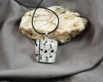 """fused glass black and white """"pepper"""" chevron pendant, handmade, kiln fired"""
