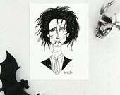 Hocus Pocus Billy Butcherson Print - Movie Artwork Print - Black and White Wall Art