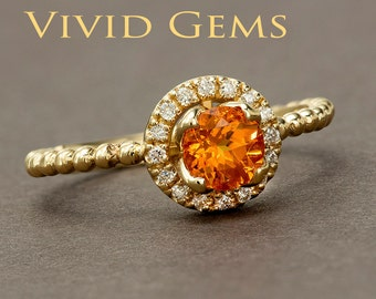 Mandarin Garnet Tulip Halo Flower Ring in Solid 14k Yellow Gold