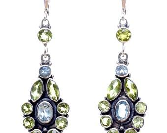 Blue Topaz earrings,Peridot earrings,Victorian earrings,Handmade earrings,Sterling Silver earrings