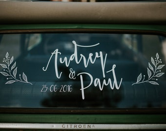 Personalized wedding country car Citroën 2cv sticker decal