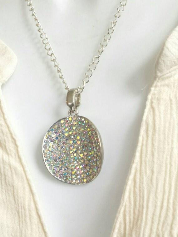 Circle Pendant, Rhinestone pendant, silver rhinestone pendant, circle rhinestone necklace, round silver pendant, rhinestone circle pendant