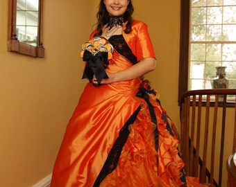 Halloween Orange and Black Wedding Dress Bridal Gown