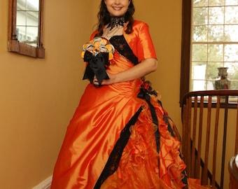 Halloween Orange and Black Wedding Dress Bridal Gown