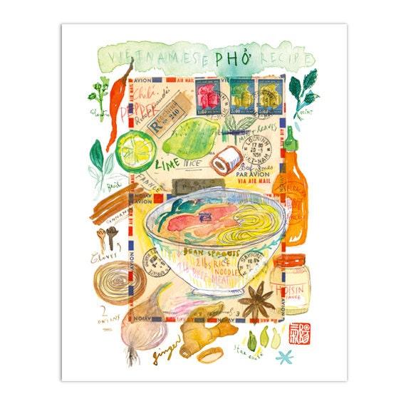 Pho Illustration Print Kitchen Art Vietnam Art Poster