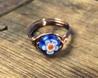 size 6.75 , 6 3/4 - colorful blue red white flower glass , antique copper wire wrapped Millefiori Ring - women teen girl men unisex jewelry