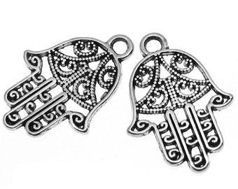 Antique Silver Hamsa Charms | Silver Ornate Hand of Fatima Pendants  [Choose 1 piece or 10 pieces] -- Lead, Nickel & Cadmium Free C15