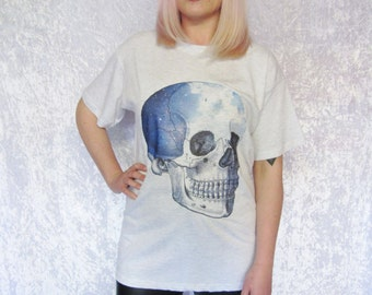 Skull Graphic Tee Gothic Grunge Galaxy Clouds Sky Oversized Top