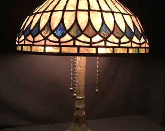 stylish stained glass lamp original design geometric lamp shade teal