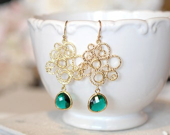 Green Earrings Emerald Glass Drop Gold Filigree Dangle Earrings Emerald Green Wedding Jewelry Bridesmaid Earrings May Birthstone Earrings