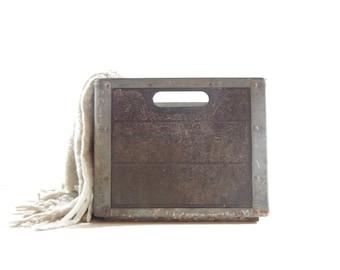 Vintage Metal Milk Crate / Industrial Storage
