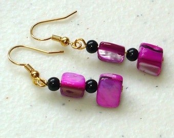 Hot Pink Shell Earrings: Women's Drop Earrings, Natural Dyed Shell and Glass Beads, Nickle-Free Earwires, Handmade in the US, Ready to Ship