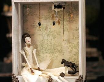 Music Box Diorama: SHE DREAMS! {VIDEO} Dollhouse By Fae Factory Artist Dr Franky Dolan (Handmade Wood Music Box Art Doll hot air balloon)