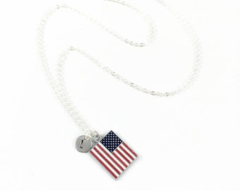 USA Necklace, Flag Necklace, American Flag Necklace, Patriotic Jewelry, Military Jewelry, Memorial Jewelry, Independence Day, 4th of July