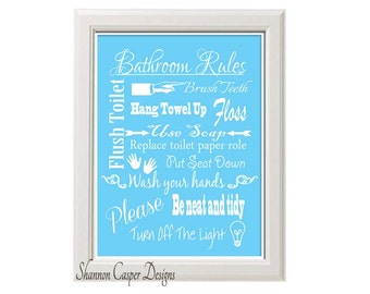 Bathroom Decor printable, Instant Digital Download, Blue and White Art, Bathroom Rules